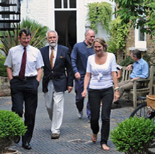 people walking in courtyard
