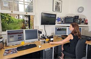 woman viewing monitor