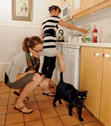 woman in kitchen with cat
